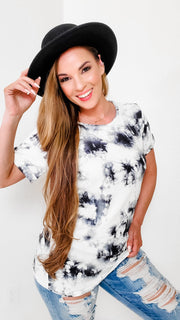Rolled Up Short Sleeves Tie Dye Top with a Round Neck Line
