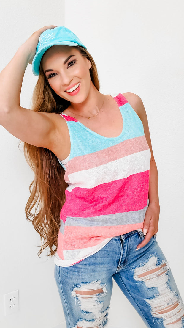 Round Neck Striped Sleeveless Top