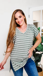 Doorbuster - Your Boyfriends Striped V-Neck Top (S-3XL)