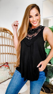 Lace Patch Detail Tank Top with Keyhole and Button