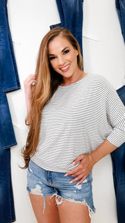Boat Neck Dolman Sleeves Stripe Top