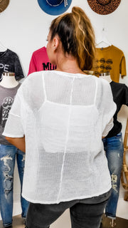 Oversized Fishnet Short Sleeve Top