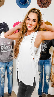Pol - Cut-Out Braided Sleeveless Muscle Top