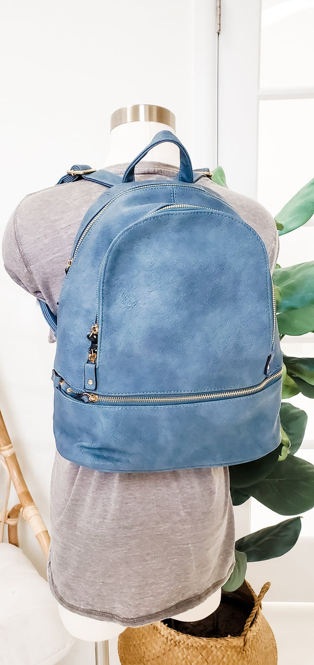 Monogrammable Tripe Zip Pocket Backpack