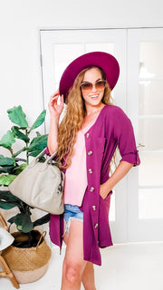 Doorbuster - Woven Heavy Span Dobby Cardigan Front Tunic Dress