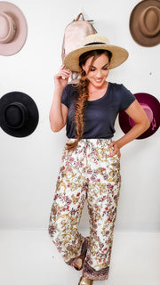 Silky Soft Drawstring Stretch Waist Floral Border Print Pants with Pockets