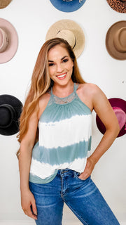Crochet Trimmed Back Soft Tie Dye Tank Top