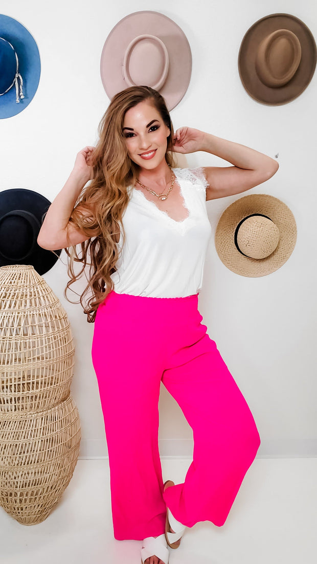 Smocked Waistband Wide Leg Pants