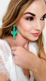 Green and Gold Cactus Earrings