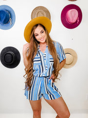 Multi Stripe Rayon Gauze Button Down Romper