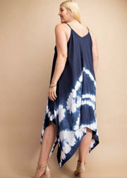 Tie Dye Spaghetti Strap Handkerchief Style Dress with Shark Bite (S-2XL)