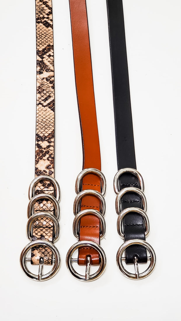 Four Ring Skinny Waist Belt