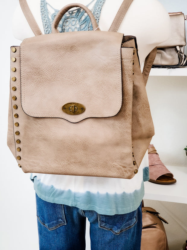 Studded Backpack in Burnished Vegan Leather