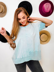 Easel - Mineral Washed Ribbed Tunic Top (S-3XL)
