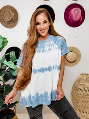 Easel - Short Sleeve Wave Washed Knit Top (S-3XL)