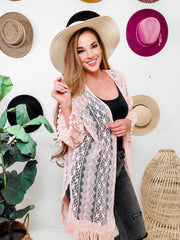All Over Lace Kimono with Fringe