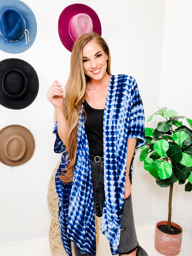 Tie Dye Open Kimono with Side Slit (Fits S-3XL)