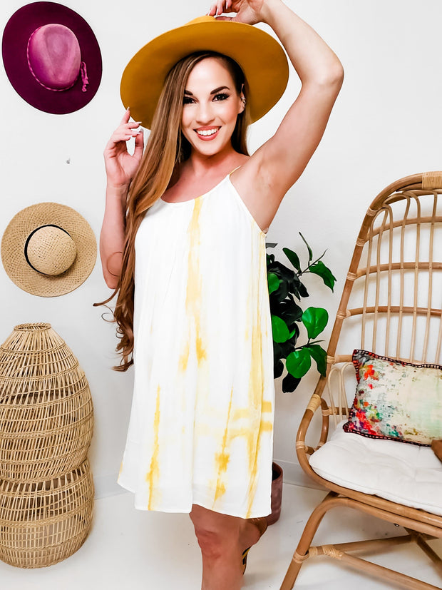 Round Neck  Criss-Cross Back Tie-Dye Dress with Adjustable Straps