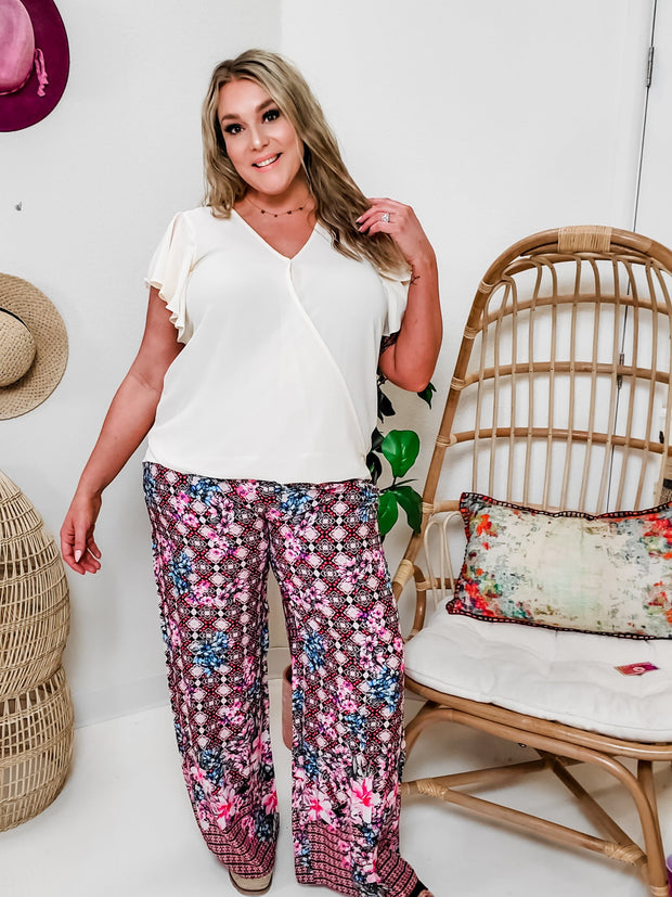 Boho Stripe and Floral Pants with Pockets and Belt
