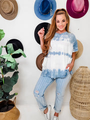 Easel - Striped Cropped Denim Pants