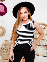 Pol - Loose Fit Stripe Sleeveless Knit Top with Contrast Ribbed Neck