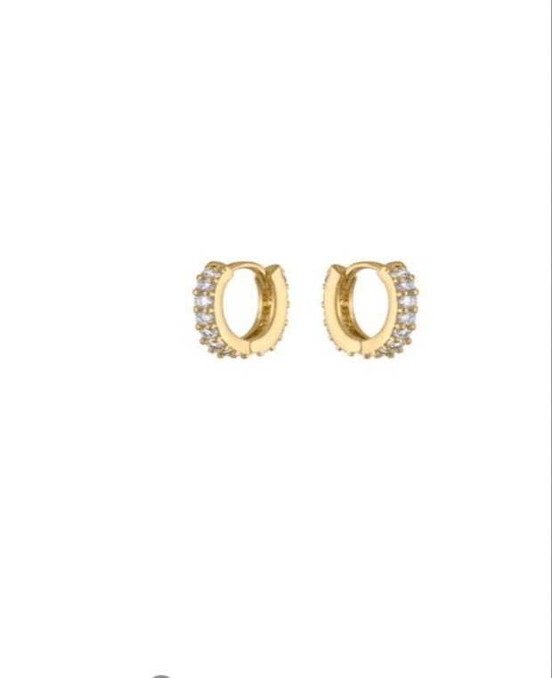 Tiny CZ Diamond Huggies Hoops