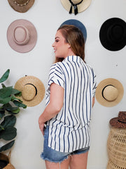 Short Sleeve Collar Striped Top with Placket and Chest Pockets