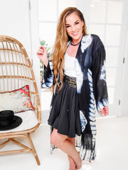 Tie-Dye Longline Kimono with Full Sleeves (S-2XL)