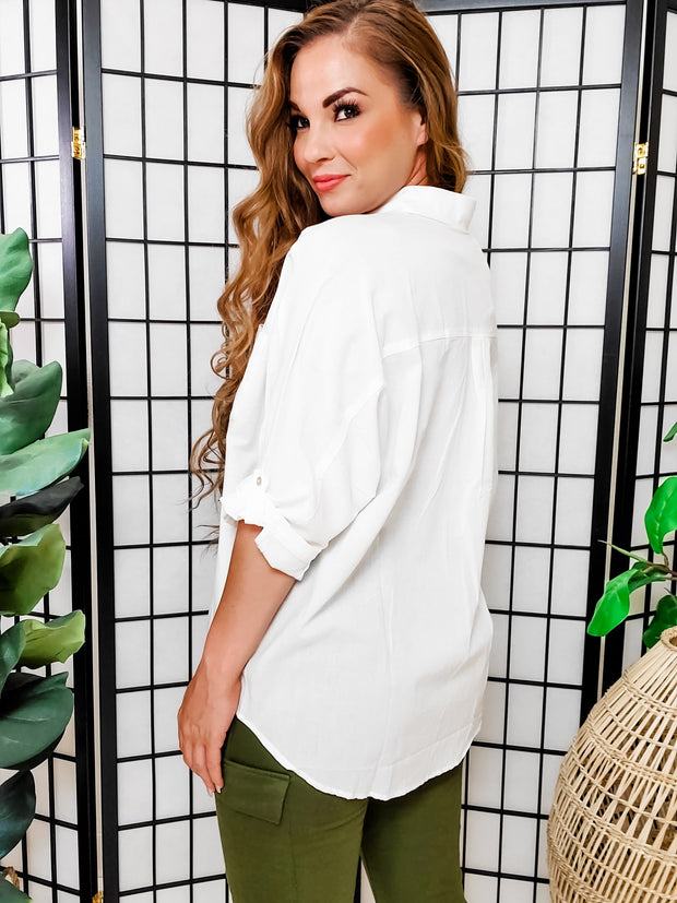 Easel - Sunny LA Button Down 3/4 Length Sleeve Top