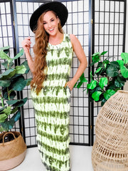 Tie-Dye Printed Knit Sleeveless Maxi Dress (S-3XL)