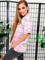 Short Sleeves Pink Camo Top (S-3XL)