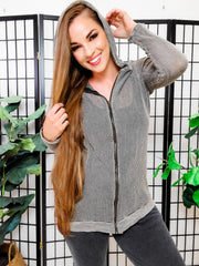 Mineral wash Zip Up Hoodie Fishnet Jacket