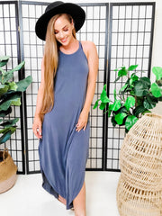 Sleeveless Halter Maxi Dress
