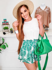 Double Layer Tropical Print Shorts Featuring a Elasticized Waist