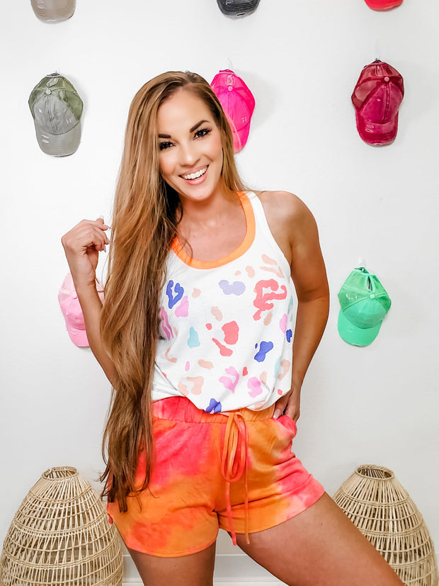 Tie-Dye Shorts Featuring Drawstring with Self Tie and Pockets