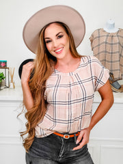 Plaid Top with Tulip Sleeves and Round Neckline