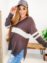 Long Sleeve Varsity Stripe Sweater