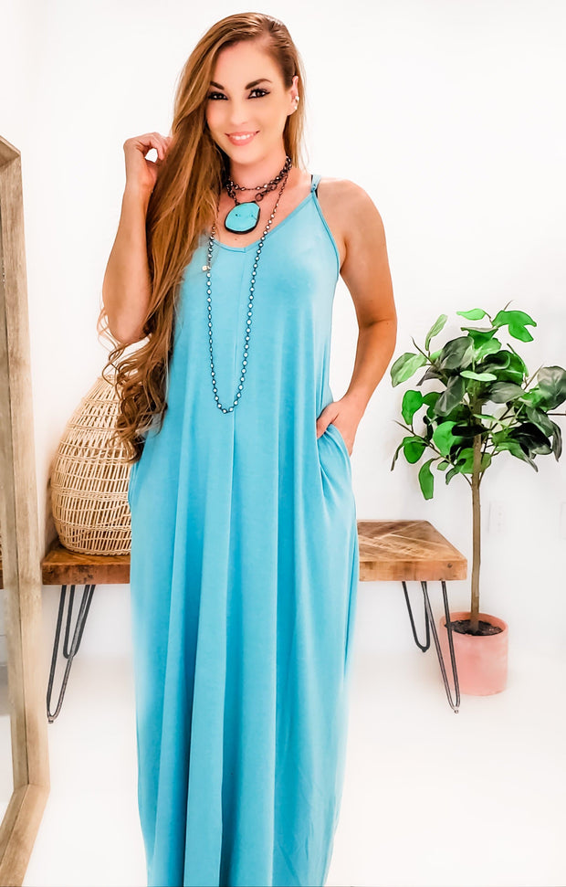 Doorbuster - V-Neck Cami Maxi Dress with Side Pockets