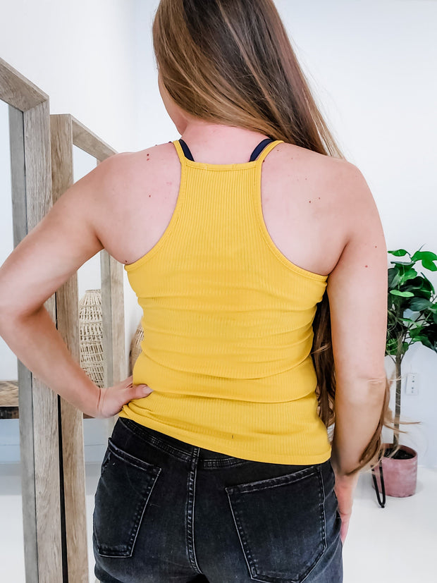 Ribbed Racer Back Tank Top