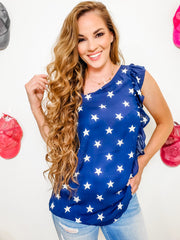 Americana Top with Asymmetrical Bodice and Cute Ruffle Detailing