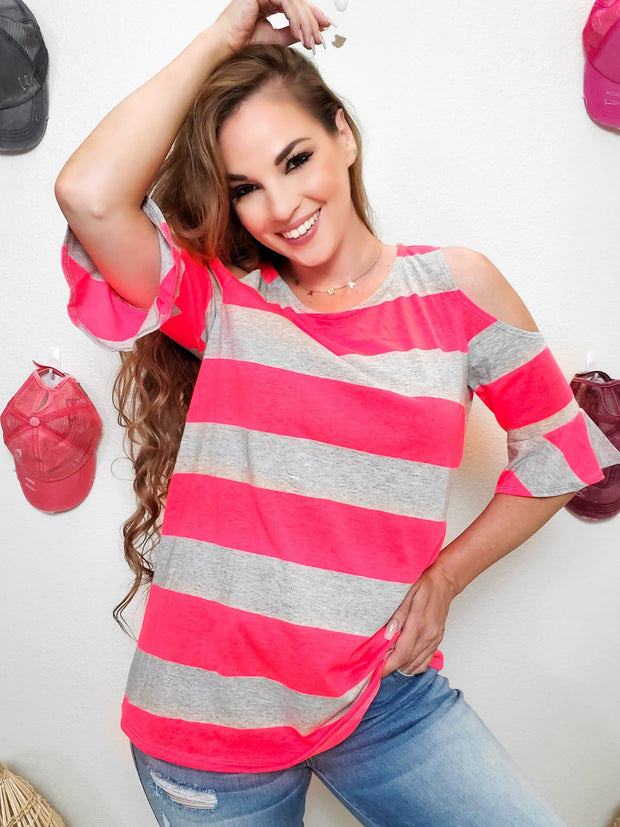 Stripe Print Cold Shoulder Short Sleeve Top (S-3XL)