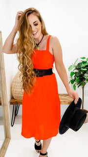 Summer Fresh Button Front Midi Dress