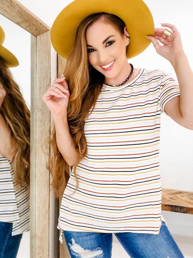Short Sleeve High-Low Striped Top