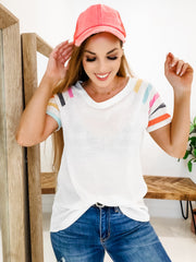 Short Sleeve Waffle Knit Top with Stripe Detail(S-3XL)