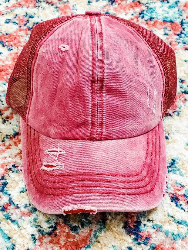 Distressed Mesh Back Ponytail Cap
