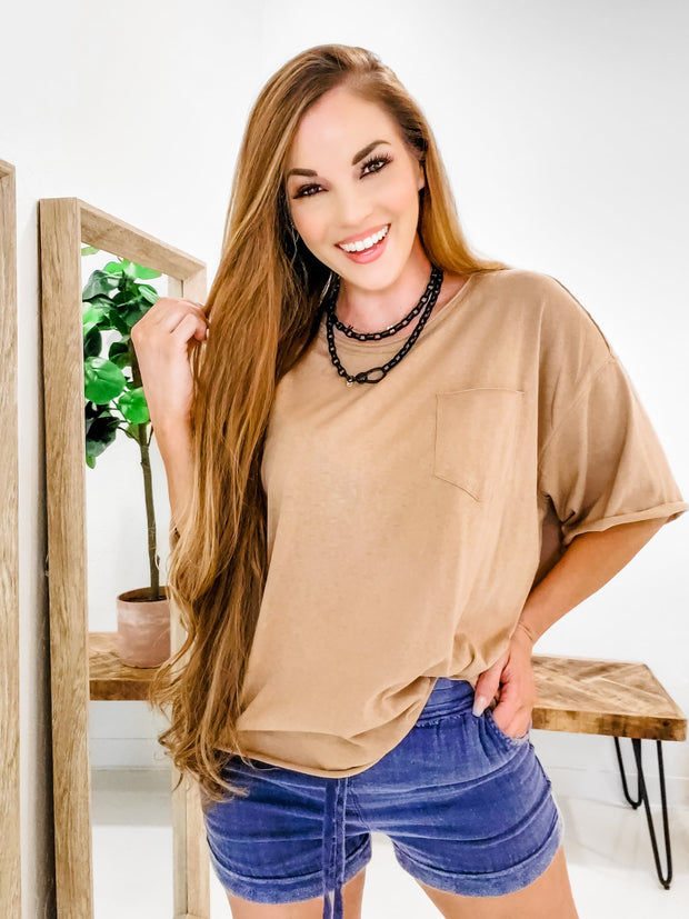 Easel - Oversize Crop Knit Top