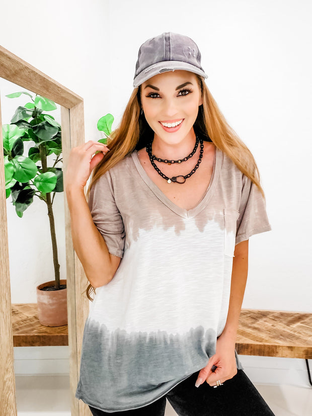 Pol - Relaxed Fit Tie Dye Short Sleeves V-Neck Top with Pocket (S-3XL)