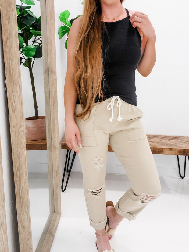 Easel - Distressed Twill Boyfriend Fit Pants