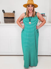 Doorbuster - Stripe Cami Maxi Dress with Pocket (1XL-3XL)