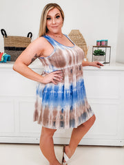 Tie Dye Sleeveless Dress with Button Detail (1XL-3XL)